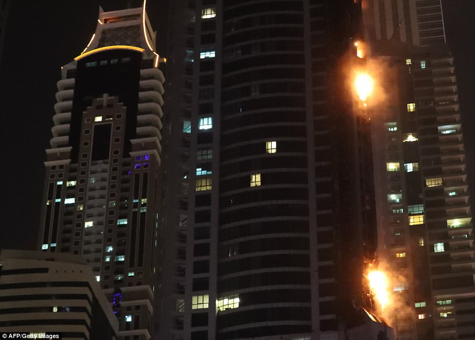 Footage shows fire climbing up the 86-storey The Torch, a residential building popular with expats in Dubai